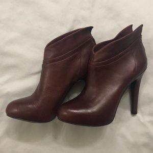 Jessica Simpson Leather Wine Booties Size 7